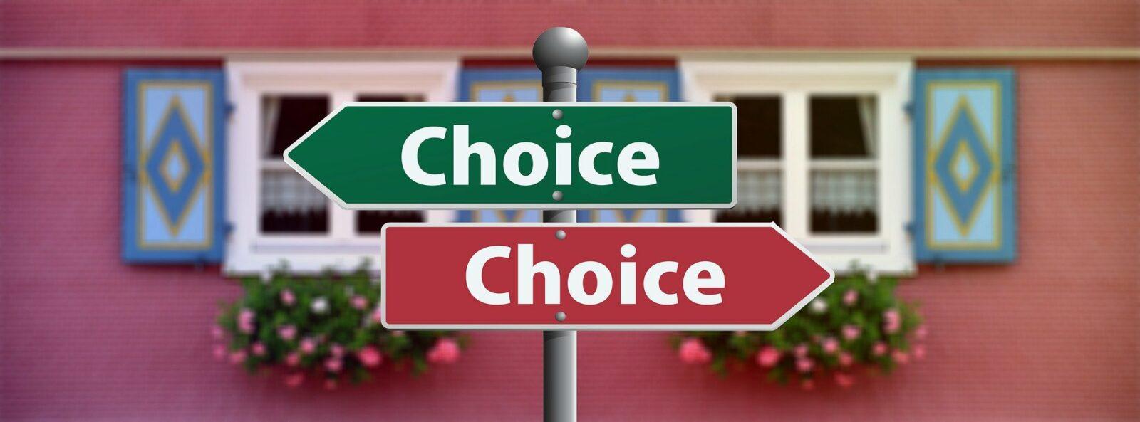 Entscheidung Schilder